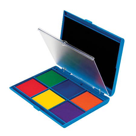"""Learning Resources® 7-Color Stamp Pads, 6 1/2"""" x 5"""", Assorted Colors, Pack Of 2"""
