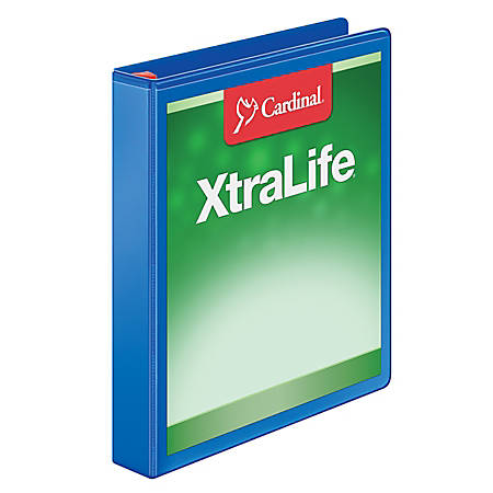 "Cardinal® XtraLife® Locking Slant-D® Ring Binder, 1"" Rings, 52% Recycled, Blue"