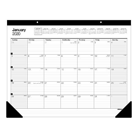 "Office Depot® Brand Monthly Desk Pad Calendar, 22"" x 17"", White, January To December 2020, SP24D00"