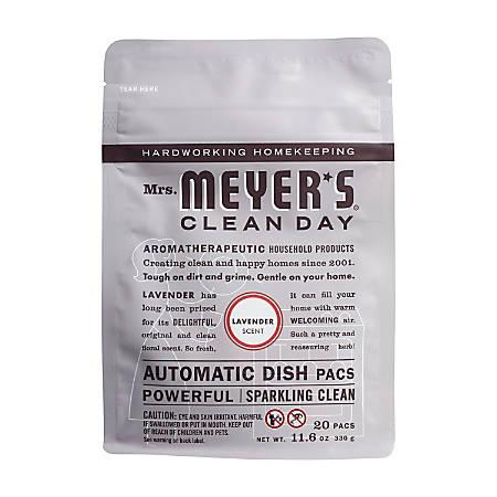 Mrs. Meyer's Clean Day Automatic Dish Detergent, Lavender Scent, 12.7 Oz, 20 Packets Per Pack, Carton Of 6 Packs