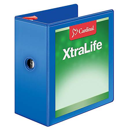 "Cardinal® XtraLife® Locking Slant-D® Ring Binder, 5"" Rings, 52% Recycled, Blue"