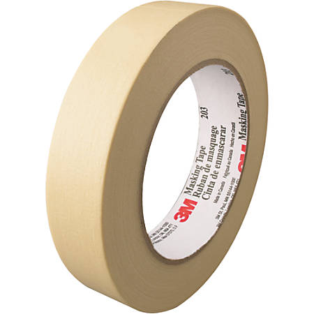 """3M™ 203 Masking Tape, 3"""" Core, 1"""" x 180', Natural, Pack Of 12"""