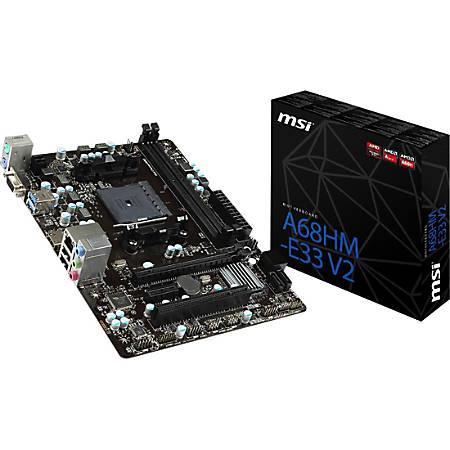 MSI A68HM-E33 V2 Desktop Motherboard - AMD Chipset - Socket FM2+ - 32 MB DDR3 SDRAM Maximum RAM - DDR3-2133/PC3-17000, DDR3-1866/PC3-15000, DDR3-1600/PC3-12800, DDR3-1333/PC3-10600 - DIMM - 2 x Memory Slots - Gigabit Ethernet - 2 x USB 3.0 Port
