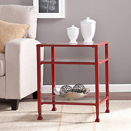 Southern Enterprises Metal/Glass End Table, Square, Clear/Red