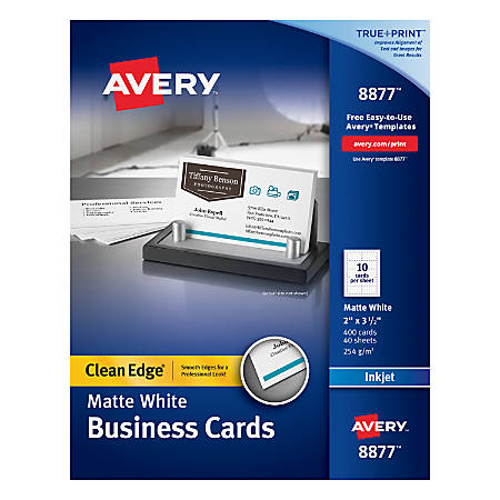 "Avery® Inkjet Clean-Edge Two-Side Printable Business Cards, 2-Sided, 2"" x 3 1/2"", White Matte, Pack Of 400"