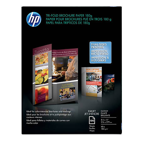 "HP Professional Brochure Paper, Tri-Fold, Glossy, 8 1/2"" x 11"", 48 Lb, Pack Of 100 Sheets"