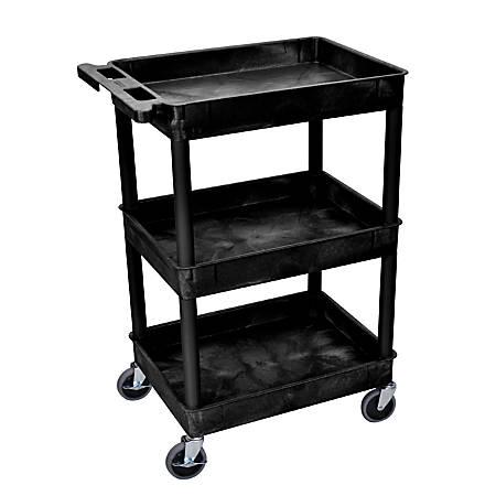 "H. Wilson Plastic Tub Cart, 38 1/2""H x 24""W x 18""D, Black"