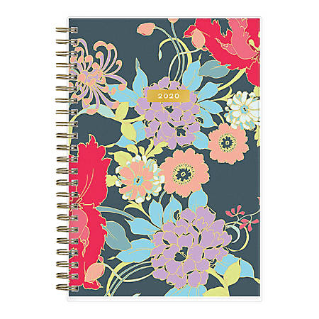 """Blue Sky™ Trina Turk Weekly/Monthly Planner, 5"""" x 8"""", Botanical Floral Frosted, January To December 2020, 117510"""
