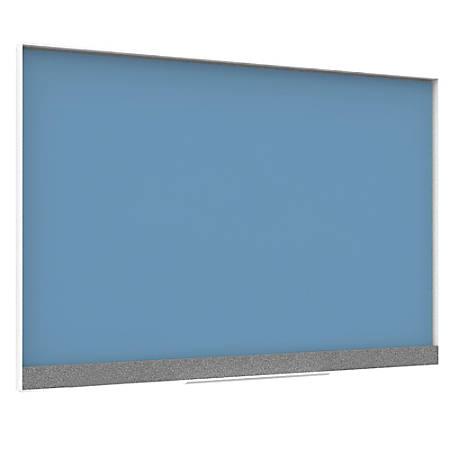 "U Brands Magnetic Dry-Erase Board, Glass, 24"" x 18"", Blue, White Aluminum Frame"
