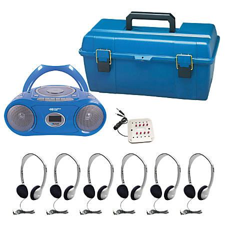 "Hamilton Electronics 6-Person CD/MP3 Listening Center With AM/FM Radio, 13.39""H x 10.24""W x 5.31""D, Blue, HECLCPCD385HA2"