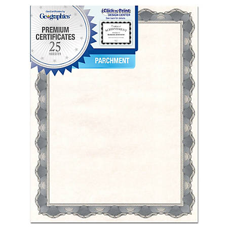 "Geographics® 30% Recycled Blank Parchment Certificates, 8 1/2"" x 11"", Crown Silver, Pack Of 25"