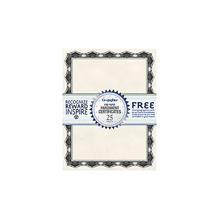 """Geographics® 30% Recycled Blank Parchment Certificates, 8 1/2"""" x 11"""", Crown Silver, Pack Of 25"""