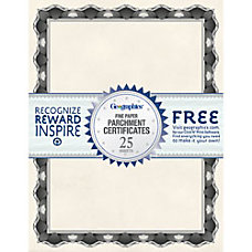 Geographics 30percent Recycled Blank Parchment Certificates