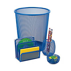 Mesh Desk Accessory Set Blue