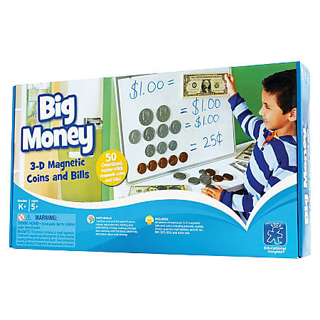 """Educational Insights® Big Money™ Magnetic Coins And Bills, 16""""H x 9""""W x 2 1/2""""D, Kindergarten - Grade 5, Pack Of 50"""