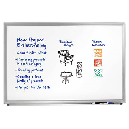 "FORAY™ Aluminum-Framed Dry-Erase Board With Marker, 48"" x 72"", White Board, Silver Frame"
