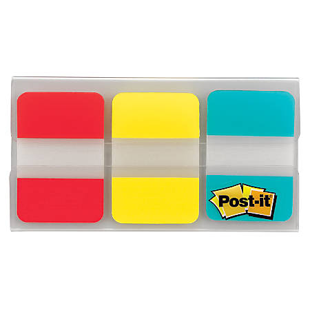 """Post-it® Notes Durable Filing Tabs, 1"""" x 1-1/2"""", Blue/Red/Yellow, 22 Flags Per Pad, Pack Of 3 Pads"""