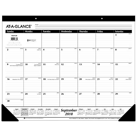 """AT-A-GLANCE® 16-Month Monthly Academic Desk Pad, 22"""" x 17"""", 30% Recycled, September 2018 To December 2019"""