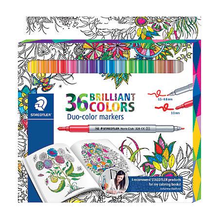 Staedtler® Duo-Ended Markers, Fiber Tip, 1.0 mm/3.0 mm, Assorted Colors, Pack Of 36