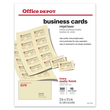 Office depot brand matte business cards 2 x 3 12 ivory pack of 300 office depot brand matte business cards 2 x 3 12 ivory pack of 300 by office depot officemax flashek Image collections