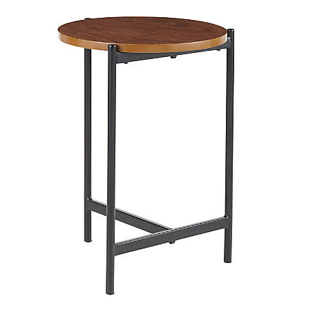 "Lumisource Chloe Side Table, 22""H x 16-1/2""W x 16-1/2""D, Walnut Wood/Black"