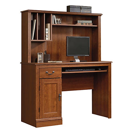 Sauder® Camden County Computer Desk With Hutch, Planked Cherry