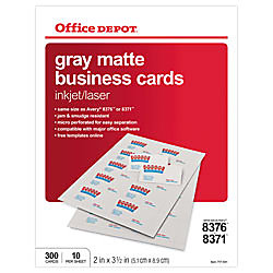 Office depot brand matte business cards 2 x 3 12 gray pack of 300 by office depot brand matte business cards 2 x 3 12 colourmoves