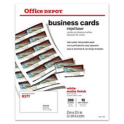 Office Depot Brand Matte Business Cards 2 X 3 12 White Pack Of 300 By Officemax