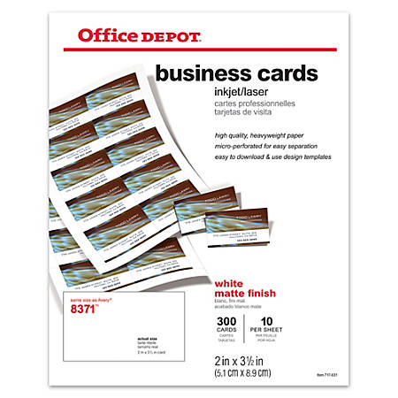 "Office Depot® Brand Matte Business Cards, 2"" x 3 1/2"", White, Pack Of 300"