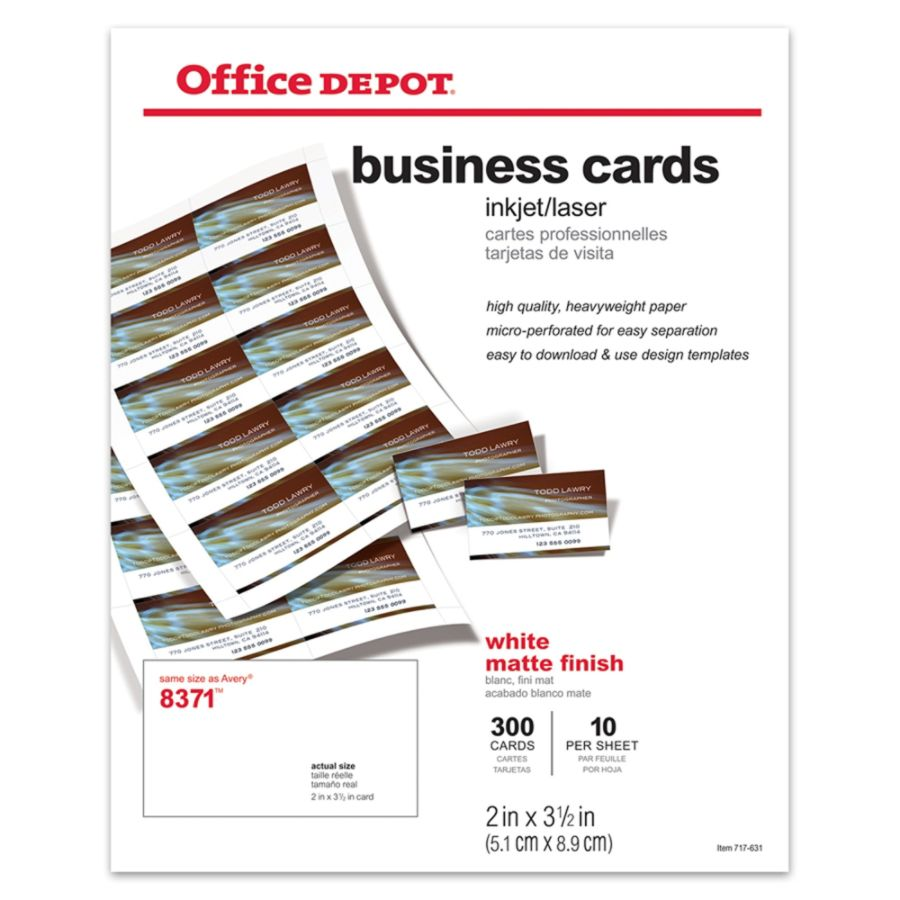 Office Depot Brand Matte Business Cards 2 X 3 12 White Pack Of 300