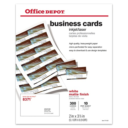 Office Depot Brand Matte Business Cards 2 x 3 12 White Pack Of 300 ...