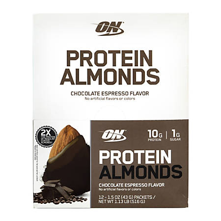 Optimum Nutrition Protein Almonds, Chocolate Espresso, 1.5-Oz Packets, Box Of 12 Packets