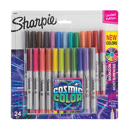 Sharpie® Permanent Ultra-Fine Point Markers, Assorted Colors, Pack Of 24 Markers