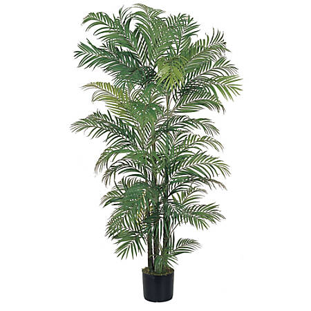 Nearly Natural 6'H Silk Areca Palm Tree With Pot, Green