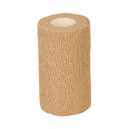 """Medline Caring Non-Sterile Latex Self-Adherent Wraps, 4"""" x 5 Yd., Tan, Pack Of 18"""