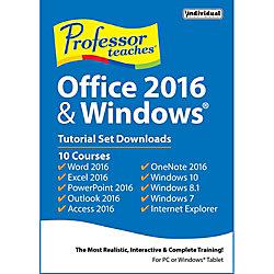 Professor Teaches Office 2016 And Windows Tutorial Set, Downloads Version