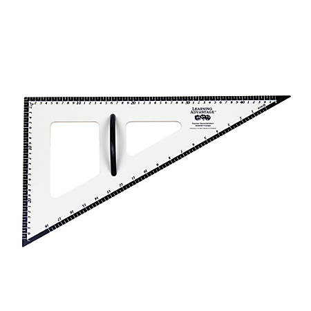 "Learning Advantage Dry-Erase Magnetic 30°/60°/90°Triangles, 22 1/2"", Black/White, Pack Of 2"
