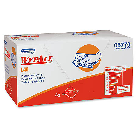 """Wypall L40 Professional Towels - 12"""" x 23"""" - White - Absorbent, Versatile, Strong, Soft, Portable - For Industry, Face, Hand, Health Club, Manufacturing, School - 45 Sheets Per Box - 540 / Carton"""