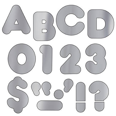 "TREND Ready Letters®, Metallic Casual, 4"", Silver, Pre-K - Grade 12, Pack Of 71"