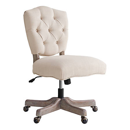Linon Juliet Fabric Mid-Back Chair, White/Gray Wash