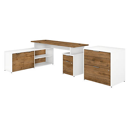 """Bush Business Furniture Jamestown L-Shaped Desk With Drawers And Lateral File Cabinet, 72""""W, Fresh Walnut/White, Premium Installation"""