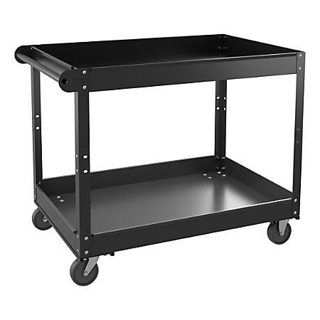 "Lorell™ 2-Shelf Utility Cart, 24""W, Black"