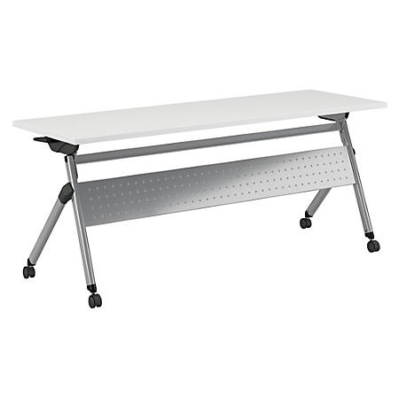"Bush Business Furniture 72""W x 24""D Folding Training Table With Wheels, White/Cool Gray Metallic, Standard Delivery"