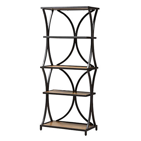 Baxton Studio Jeremy 4-Shelf Bookshelf, Oak Brown/Black