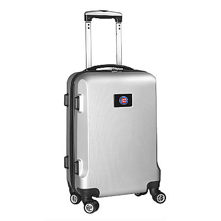 """Denco 2-In-1 Hard Case Rolling Carry-On Luggage, 21""""H x 13""""W x 9""""D, Chicago Cubs, Silver"""