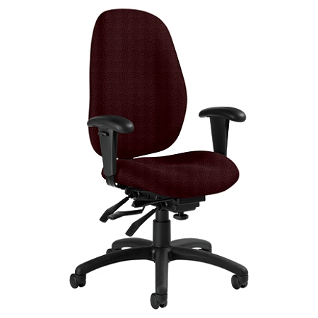 "Global® Malaga High-Back Multi-Tilter Chair With Arms, 41""H x 26""W x 25""D, Ruby/Black"