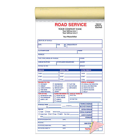 "Custom Pre-Formatted 3-Part Business Forms, Road Service Book, 5-1/2"" x 8-1/2"", White/Canary/Pink, 50 Sets Per Book, Box Of 10 Books"