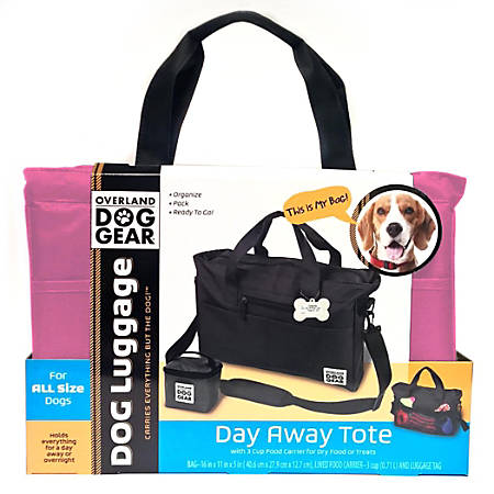 """Overland Dog Gear Day Away Tote Bag, 11""""H x 5""""W x 16""""D, Pink"""