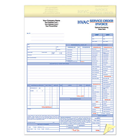 Full Color Custom Forms HVAC Service OrderInvoice Part X - 2 part invoices