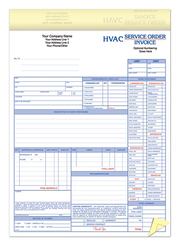 full color custom forms hvac service orderinvoice 2 part 8 12 x 11 canarywhite pack of 250 by office depot officemax